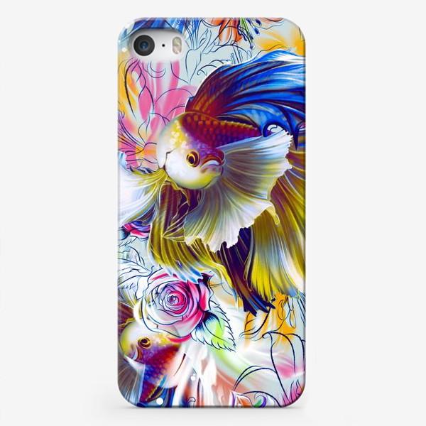 Чехол iPhone «Золотая рыбка и цветы»