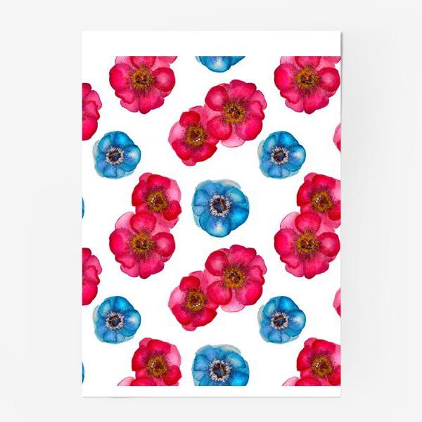 Постер «Розовые и голубые анемоны»
