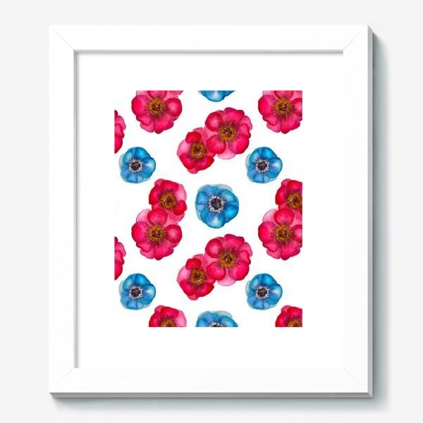 Картина «Розовые и голубые анемоны»