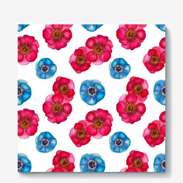Холст «Розовые и голубые анемоны»