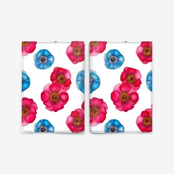Обложка для паспорта «Розовые и голубые анемоны»