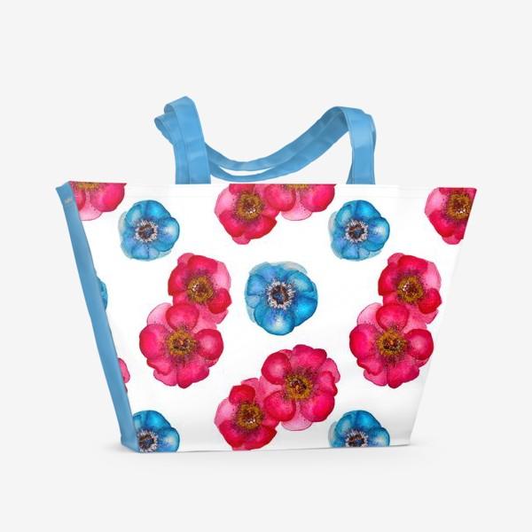 Пляжная сумка «Розовые и голубые анемоны»