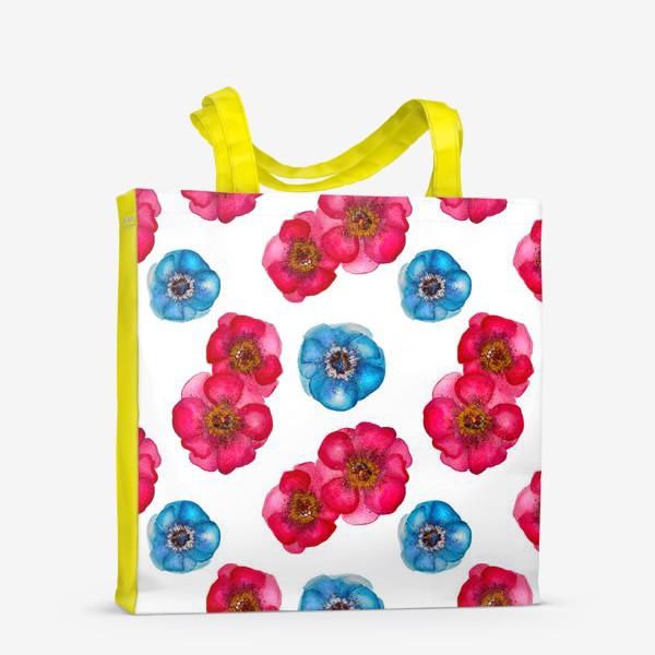 Сумка-шоппер «Розовые и голубые анемоны»