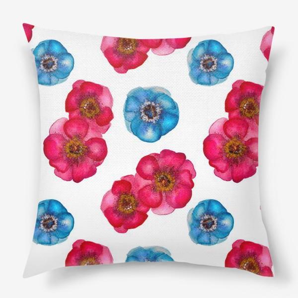 Подушка «Розовые и голубые анемоны»