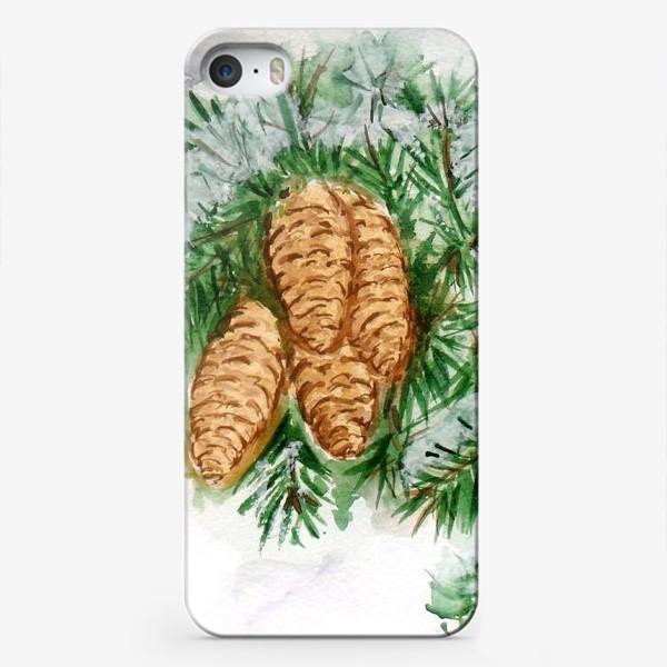 Чехол iPhone «Еловая ветка. Зима.»