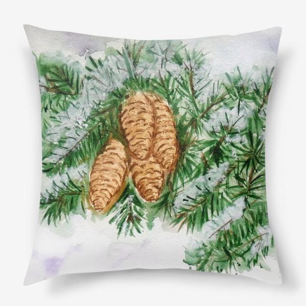 Подушка «Еловая ветка. Зима.»