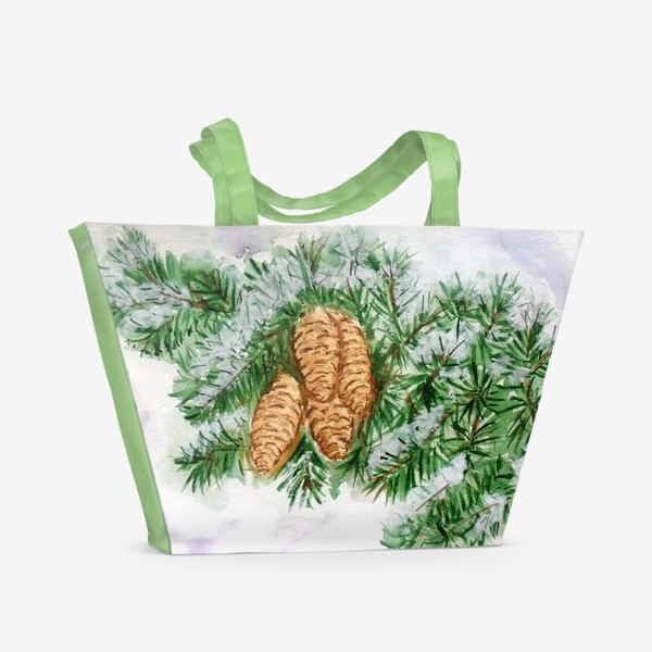 Пляжная сумка «Еловая ветка. Зима.»