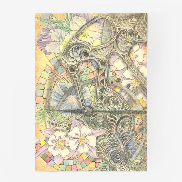 Постер «Мозаика, цветы и часовой механизм»