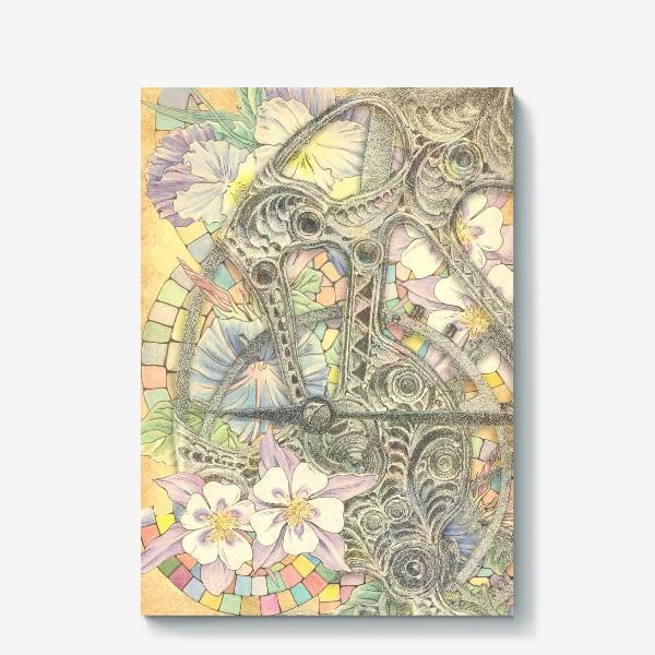 Холст «Мозаика, цветы и часовой механизм»