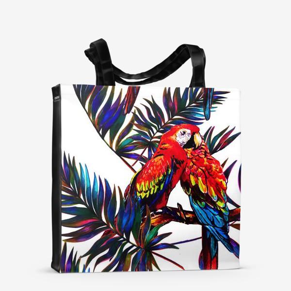 Сумка-шоппер «попугаи и пальмы»