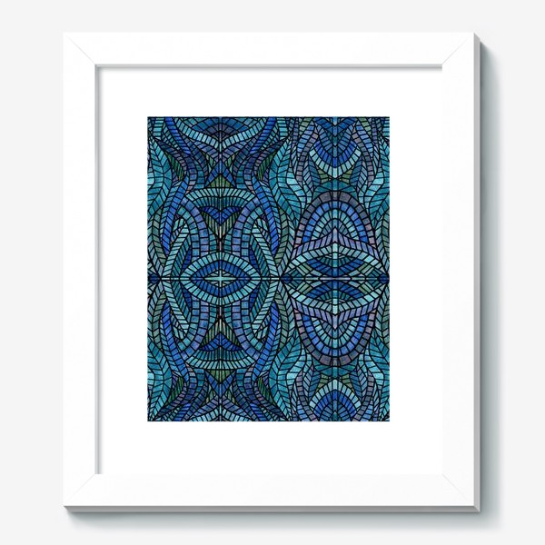 Картина «Голубая геометрическая мозаика Ар нуво»