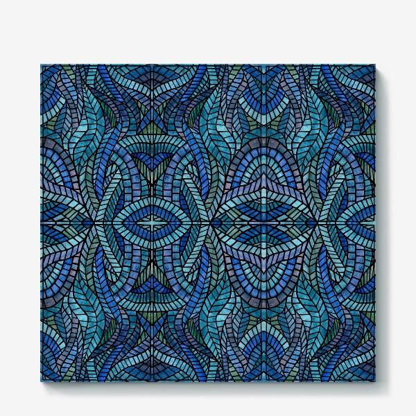 Холст «Голубая геометрическая мозаика Ар нуво»