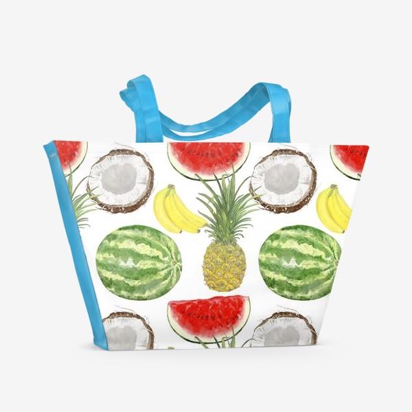 Пляжная сумка «Фрукты . Ананас,арбуз,банан,кокос»