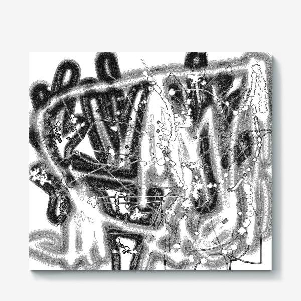 Холст «Черно-белая абстракция»