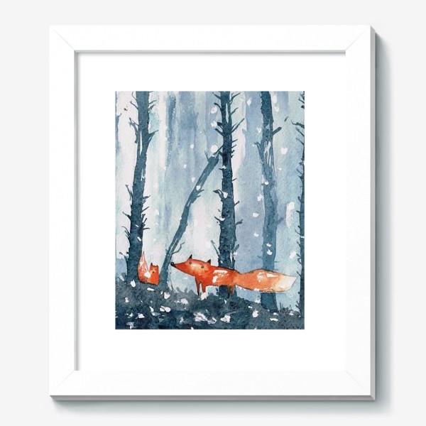 Картина «лисы в лесу»