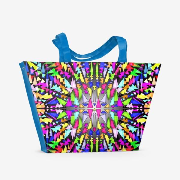 Пляжная сумка «Геометрический фон в виде витража, мозаики или калейдоскопа»
