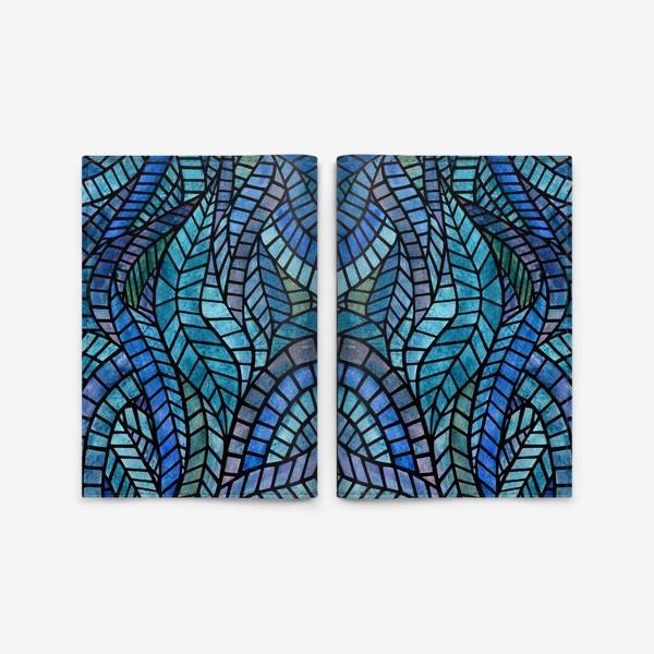 Обложка для паспорта «Голубая геометрическая мозаика Ар нуво»