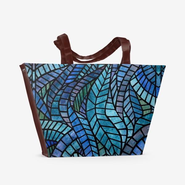 Пляжная сумка «Голубая геометрическая мозаика Ар нуво»