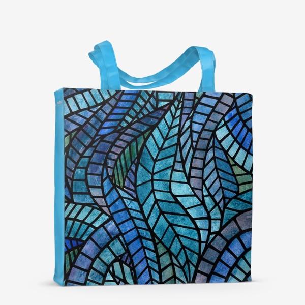 Сумка-шоппер «Голубая геометрическая мозаика Ар нуво»