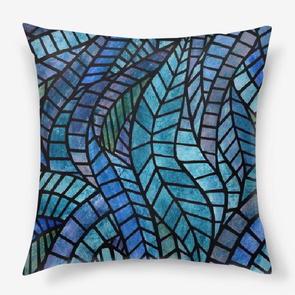 Подушка «Голубая геометрическая мозаика Ар нуво»
