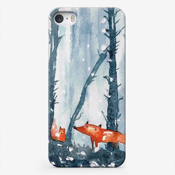 Чехол iPhone «лисы в лесу»