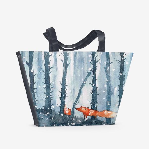 Пляжная сумка «лисы в лесу»