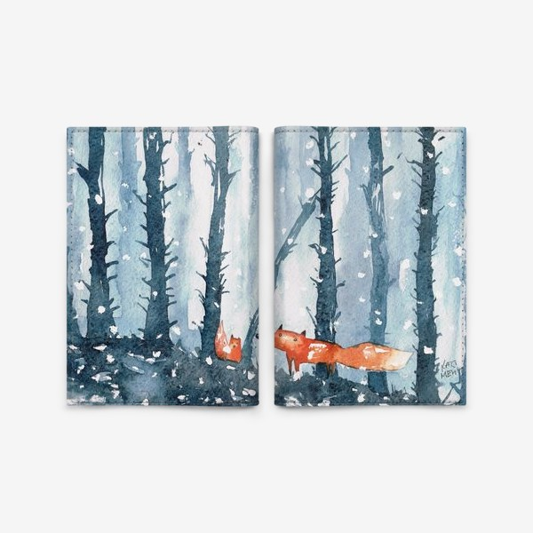 Обложка для паспорта «лисы в лесу»