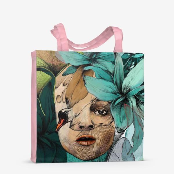 Сумка-шоппер «Хелена Бонем Картер и цветы / портрет (Helena Bonham Carter)»