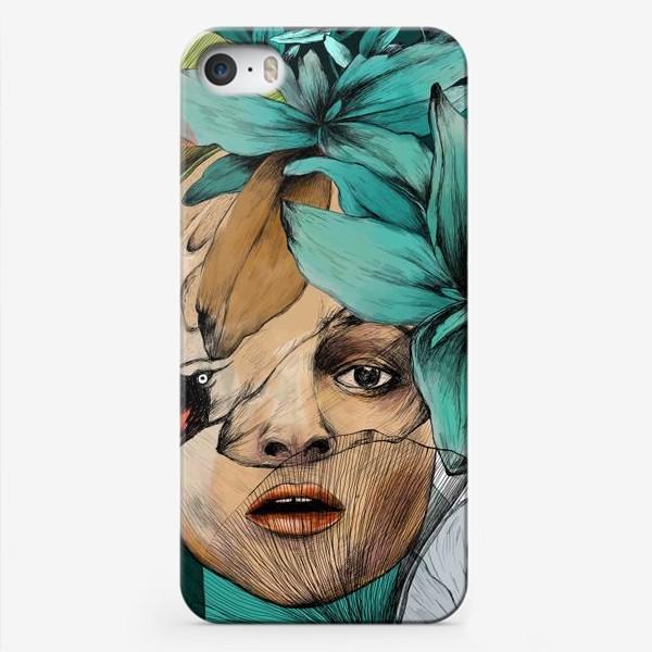 Чехол iPhone «Хелена Бонем Картер и цветы / портрет (Helena Bonham Carter)»