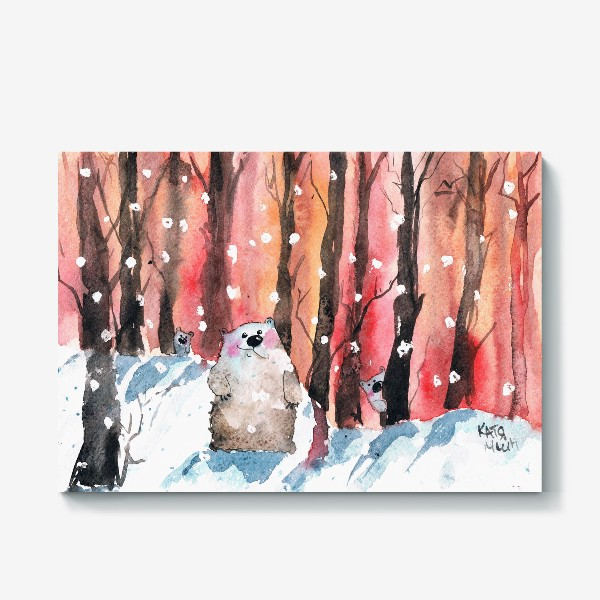 Холст «Медведи в лесу»