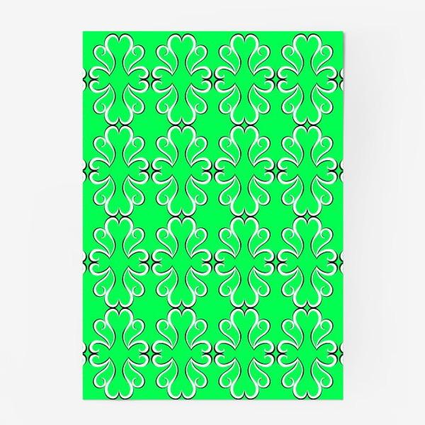 Постер «Простые классические зелёные обои с абстрактным узором»