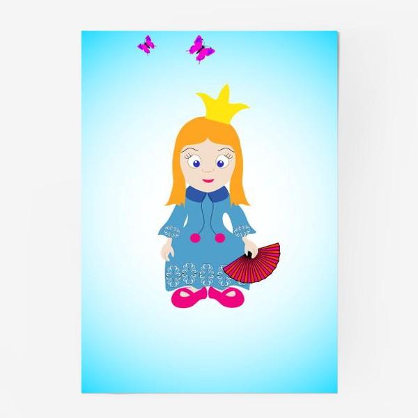 Постер «Маленькая рыжеволосая принцесса с веером и бабочками»