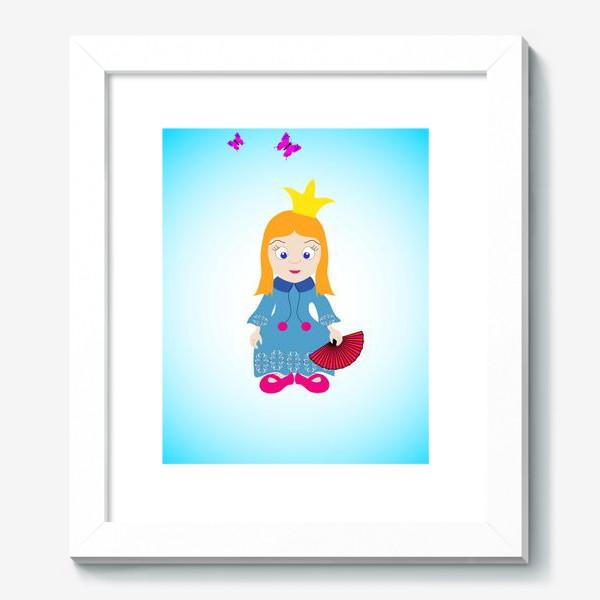 Картина «Маленькая рыжеволосая принцесса с веером и бабочками»