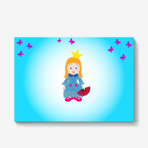 Холст «Маленькая рыжеволосая принцесса с веером и бабочками»