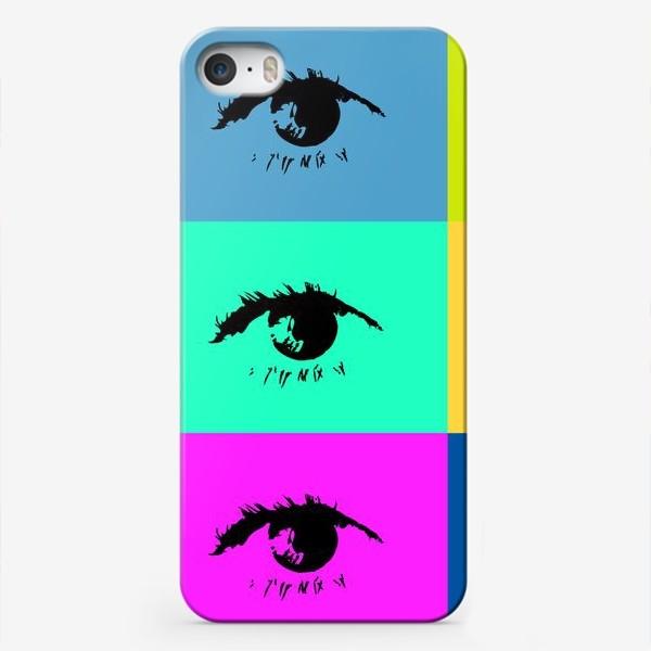 Чехол iPhone «Чёрный глаз на разноцветном фоне в стиле поп-арт»