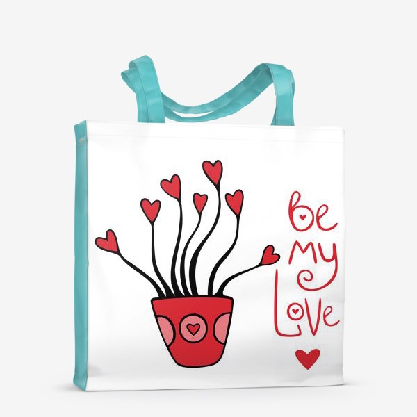 "Сумка-шоппер «цветок ""будь моей валентинкой""»"