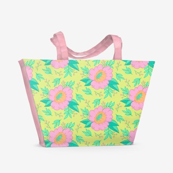 Пляжная сумка «pink flowers/green»