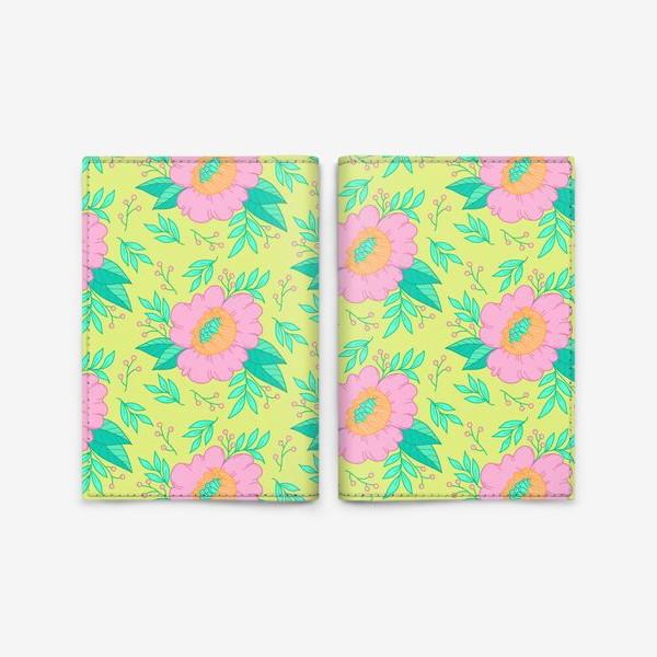 Обложка для паспорта «pink flowers/green»