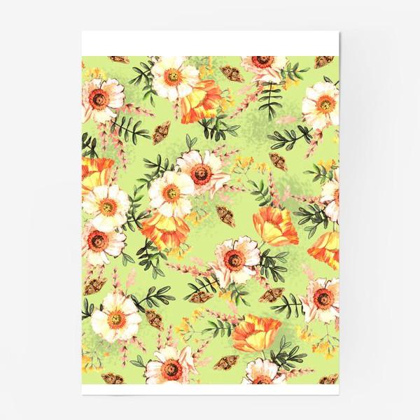 Постер «Весенний акварельный паттерн с цветами»