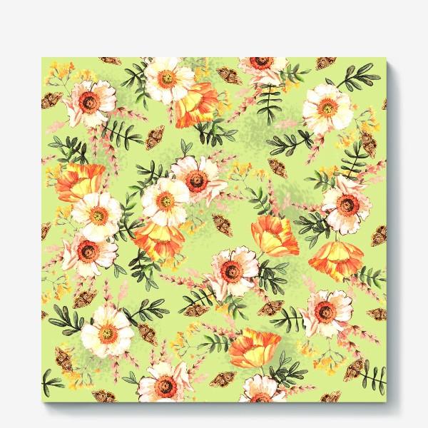 Холст «Весенний акварельный паттерн с цветами»