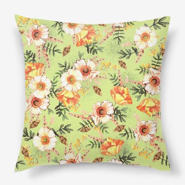 Подушка «Весенний акварельный паттерн с цветами»