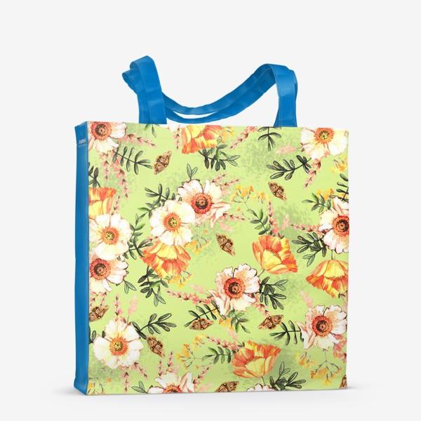 Сумка-шоппер «Весенний акварельный паттерн с цветами»
