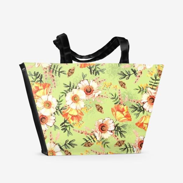 Пляжная сумка «Весенний акварельный паттерн с цветами»
