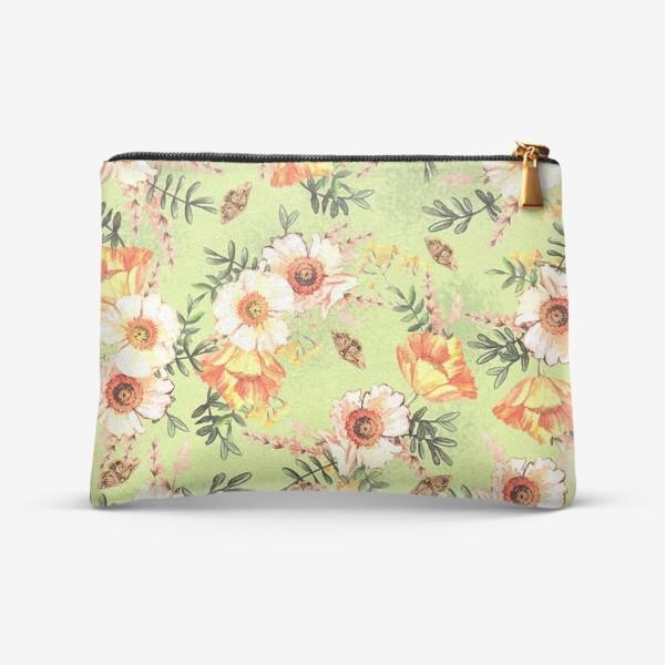 Косметичка «Весенний акварельный паттерн с цветами»