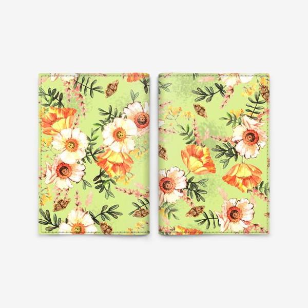 Обложка для паспорта «Весенний акварельный паттерн с цветами»