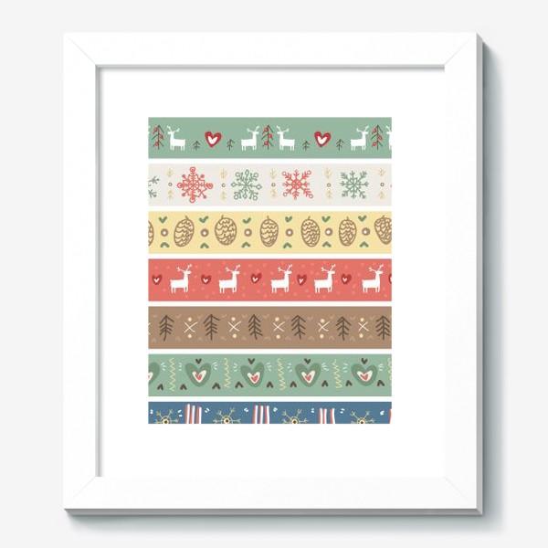 Картина «Рождественский орнамент с оленями, шишками, елками и сердечками.»