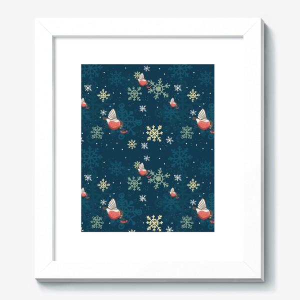 Картина «Рождественский узор со снежинками и птичками»