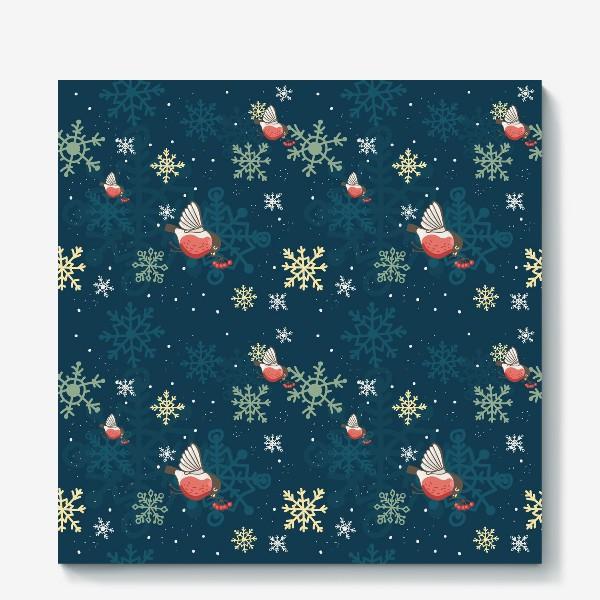 Холст «Рождественский узор со снежинками и птичками»