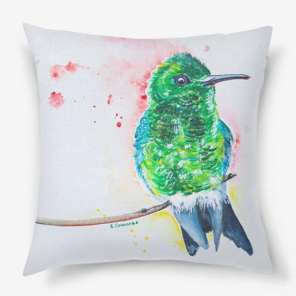 Подушка «яркая птица колибри»