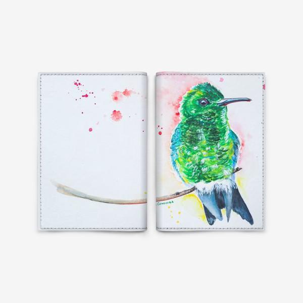 Обложка для паспорта «яркая птица колибри»
